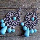 Turquoise Bead Chandelier Long Earrings Cowgirl Gypsy Boho Fashion Jewelry