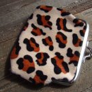 Brown Leopard Cheetah Animal Print Coin Lipstick Purse Clasp Kiss Lock