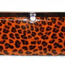 Orange Leopard Cheetah Animal Print Wallet Clutch Organizer Purse Accessory