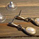Vintage Faux Pearl Gold Tone Alloy Tear Drop Earrings Fashion Jewelry Accessory