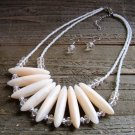 White Chunky Lucite Bars Double Line Seed Bead Statement Necklace Earrings Jewelry Set
