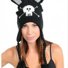 Skull Crossbones Black Knit Beanie Braid Tassels Pointy Ears Hat Teen Adult Size