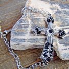 Large Antiqued Burnish Silver Cross Bracelet Black Rhinestones Adjustable Chain Link Jewelry
