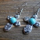 Cross Rhinestone Earrings Silver Turquoise Cowgirl Fashion Jewelry Dangle Hook