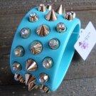 Wide Aqua Blue Plastic Bangle Bracelet Gold Spike Rhinestone Fashion Jewelry