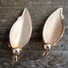 Leaf Shaped Gold Tone Alloy Clip On Earrings Fashion Jewelry Marked PAT PEND