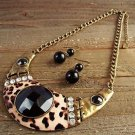 Chunky Statement Cheetah Rhinestones Bib Necklace Earrings Cowgirl Bling Jewelry