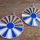 Blue White Sunburst Silver Wheel Fan Circle Round Dangle Hook Earrings Fun Fashion Jewelry
