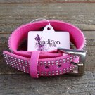 Pink Leather Belt Buckle Silver Tone Studded Wide Bracelet Wrap Fashion Jewelry