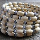 Spiral Stacked Off White Wood Bead Antiqued Burnish Accent Bracelet Boho Fashion Jewelry
