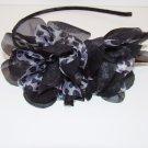 Black Animal Leopard Cheetah Print Side Ruffle Fabric Black Headband Hair Accessory