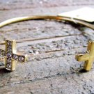 Rhinestone Cross Gold Tone Bangle Cuff Bracelet Cowgirl Fashion Statement Jewelry