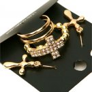 Size 10.5 & 11.25 Rhinestone Gold Tone Cross Stretch Ring Dangle Earrings Statement Jewelry Set
