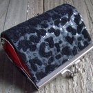 Black Leopard Cheetah Animal Print Pattern Coin Lipstick Purse Clasp Kiss Lock