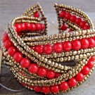 Red Braided Crossed Plastic Gold Seed Bead Chunky Wide Cuff Bracelet Fashion Jewelry