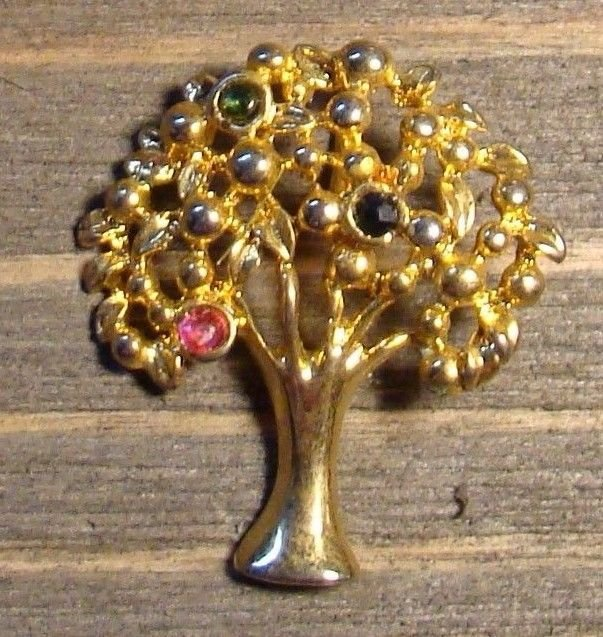 Vintage Gold Tone Tree Pendant Pink Green Rhinestones Fashion Jewelry Accessory