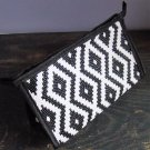 White Aztec Print Pattern Cosmetic Makeup Hand Bag Carry All Purse Accessory Zipper