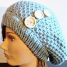 Triple Wood Button Woven Knit Baggy Gray Beret Beanie Hat One Size Women Ladies Girls