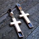 Long Cross Drop Dangle Stud Earrings Statement Fashion Jewelry Gold Tone
