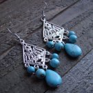 Turquoise Bead Chandelier Dangle Long Earrings Gypsy Cowgirl Fashion Jewelry