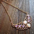 Angel Wing Purple Rhinestones Adjustable Chain Statement Necklace Fashion Jewelry Alloy