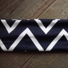 Navy Blue & White Zig Zag Chevron Print Pattern Stretch Wide Headband Wrap Hair Accessory