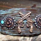 Rustic Turquoise Western Pistol Gun Wide Adjustable Cuff Bracelet Cowgirl Fashion Jewelry