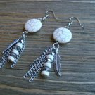 "3"" White Long Dangle Earrings Feather Chain Bead Stone Gypsy Boho Cowgirl Jewelry"