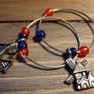 Set of 2 Country Cottage Windmill House Wine Glass Charms Pewter Blue Red Beads