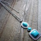 Turquoise Simulated Stone Drop Adjustable Chain Cowgirl Fashion Statement Necklace Jewelry