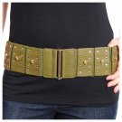Wide Green Leather Skull Studded Stretch Cinch Hip High Waist Women Fashion Belt