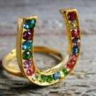 Rhinestone Horseshoe Ring Statement Cowgirl Fashion Jewelry Gold Tone