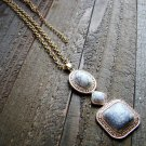 White Simulated Stone Drop Adjustable Chain Cowgirl Fashion Statement Necklace Jewelry