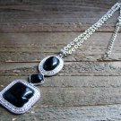 Black Simulated Stone Drop Adjustable Chain Cowgirl Fashion Statement Necklace Jewelry