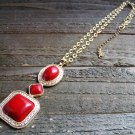 Red Simulated Stone Drop Adjustable Chain Cowgirl Fashion Statement Necklace Jewelry