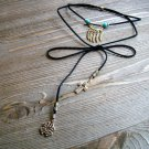 Gold Feathers Cross Clover Lariat Wrap Necklace Gypsy Boho Cowgirl Fashion Jewelry