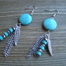 "3"" Turquoise Long Dangle Earrings Feather Chain Bead Stone Gypsy Boho Cowgirl Jewelry"