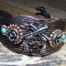 Rustic Copper Western Pistol Gun Wide Adjustable Cuff Bracelet Cowgirl Fashion Jewelry