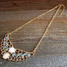 Angel Wing Aqua Blue Rhinestones Adjustable Chain Statement Necklace Fashion Jewelry Alloy