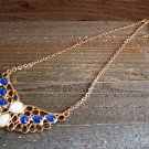 Angel Wing Blue Rhinestones Adjustable Chain Statement Necklace Fashion Jewelry Alloy