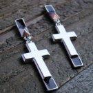 Long Cross Drop Dangle Stud Earrings Statement Fashion Jewelry Silver Tone