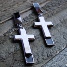 Long Cross Drop Dangle Stud Earrings Statement Jewelry Gun metal Gray Tone