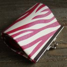 Pink White Faux Leather Zebra Animal Print Pattern Coin Lipstick Purse Clasp Kiss Lock