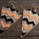 Peach Chevron ZigZag Large Arrowhead Shape Silver Tone Dangle Earrings Fashion Jewelry