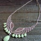 Angel Wing Green Rhinestone Tear Drop Adjustable Statement Necklace Fashion Jewelry