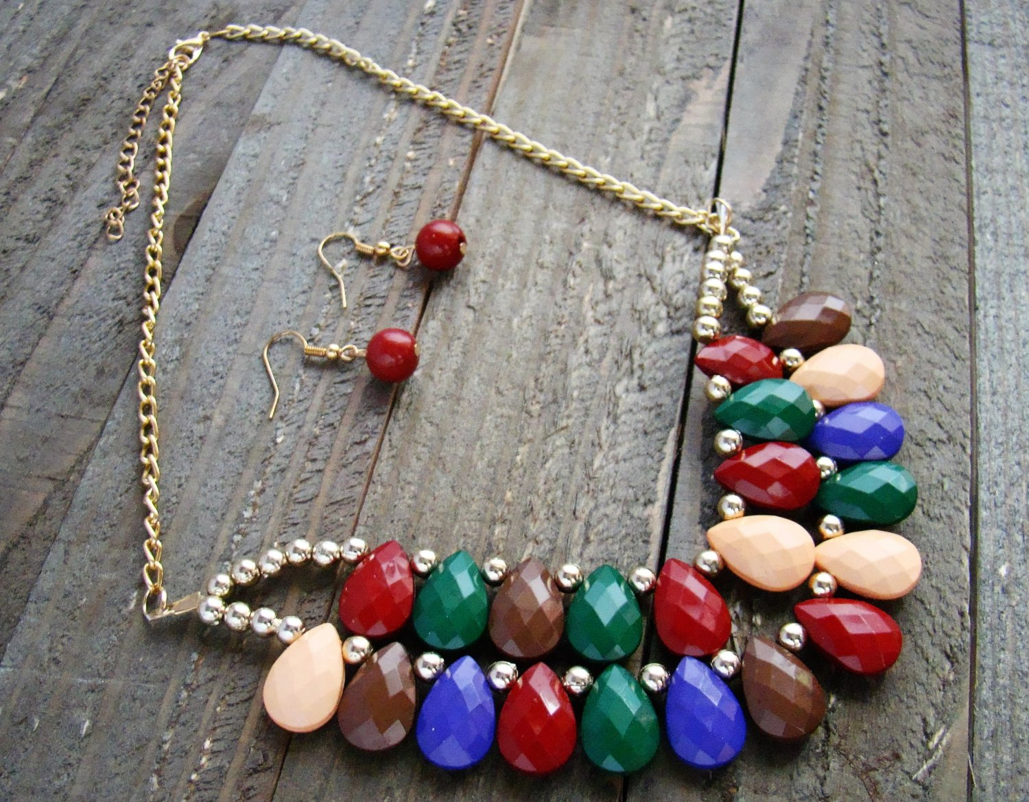 Multi-Color Tear Drop Bead Adjustable Chain Fashion Statement Bib Necklace Earrings Jewelry