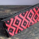 Red Aztec Print Pattern Cosmetic Makeup Hand Bag Carry All Purse Accessory Zipper