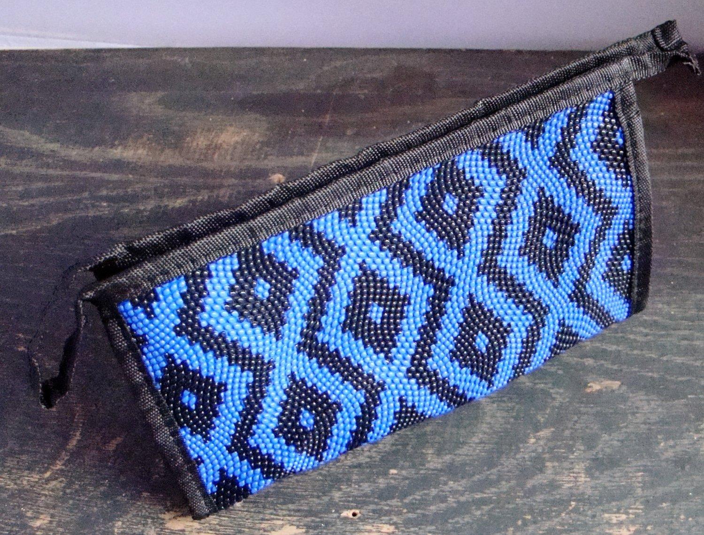 Blue Aztec Print Pattern Cosmetic Makeup Hand Bag Carry All Purse Accessory Zipper