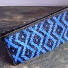 Blue Aztec Print Pattern Cosmetic Makeup Hand Bag Carry All Purse Accessory Zipper