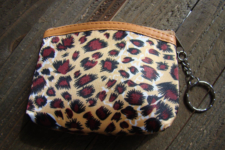 Brown Beige Leopard Cheetah Animal Print Pattern Coin Lipstick Purse Zipper Key Chain